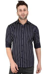 Peppyzone Men's Striped Full Sleeves Casual Shirt (Pack of 1)