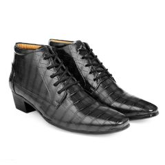 Bxxy's Men New Arrival Height Increasing Faux Leather Material Formal Crocodile style Lace-Up Boots on Cuban Sole