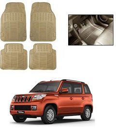 After Cars Cream Carpet Floor/Foot 4D Rubber Mats for Car Mahindra TUV 300