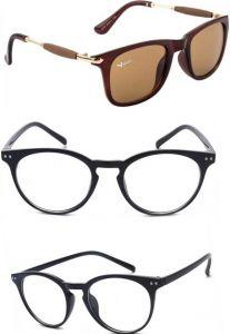Polarized Wayfarer, Round Sunglasses For Men's & Women's (Multi-Color) (Pack of 3)