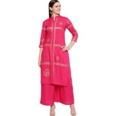 Womens Rayon Fabric, Stitched Straight3|4 Sleeves Kurta with Printed Palazzo (Color:-Pink)