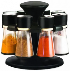 khodiyarfashion Spice Rack Masala Box Set, 100 ml, 8-pcs, Black