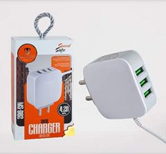 High-Speed 4.2A Charger Adaptor With LED Fast Data Cable (White) (Pack of 1)