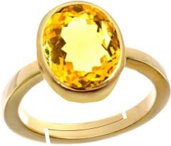 Jewelzon Citrine Sunehla4.8cts or 5.25ratti Panchdhatu Ring For Male Metal   Adjustable   Citrine Gold   Plated Ring