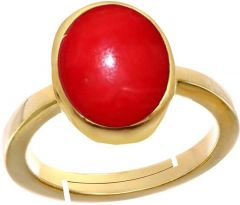 Jewelzon Coral Moonga3cts or 3.25ratti Panchdhatu Ring For Female | Adjustable | Metal Coral | Gold Plated Ring