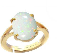 Jewelzon Opal 5.5cts or 6.25ratti Panchdhatu Ring For | Adjustable | Male Metal | Opal Gold Plated Ring