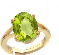 Jewelzon Peridot 3.9cts or 4.25ratti Panchdhatu Ring For Male | Adjustable | Gold Plated | Metal Peridot