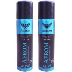 Aerom Alive and Alive Deodorant Body Spray For Men 300 ml (Pack of 2)