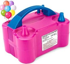 Air Pump For Party Event Two Nozzles High Power Electric Balloon Inflator Pump (Color: Pink)