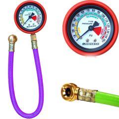 ZMO Heavy Duty Tire Pressure Inflator Gauge Metallic and Durable Meter Air Compressor