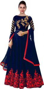 Stylish Satin Blend Embroidered Semi Stitched Anarkali Gown Kurta For Women's