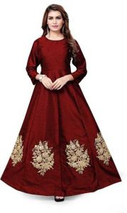 Stylish Art Silk Embroidered Semi Stitched Anarkali Gown Kurta For Women's