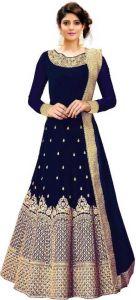 Stylish Silk Blend Embroidered Semi Stitched Anarkali Gown Kurta For Women