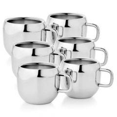 Steels Stainless Steels Double Wall Tea Coffee Apple Cup Set (Pack of 6)