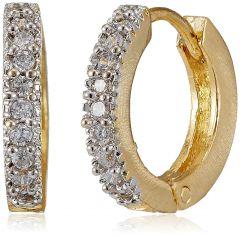 Ava Golden & Diamond Hoop Earrings for Women (Pack of 2)