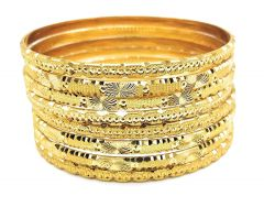 Haute Fashion Daily Wear Gold Plated Bangles or Kangan for Women (Pack of 8) (Size 2/8)