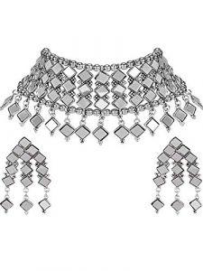 Haute Fashion Diamond Shape Mirror Necklace & 2 Earrings for Women (Silver)