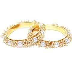 Haute Fashion Uncut Pearls Bangles for Women (Pack of 2)-ARO-17