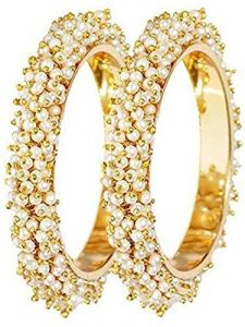 Haute Fashion Uncut Pearls Bangles or Kada for Women (Pack of 2)-ARO-18