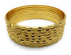Haute Fashion Round Shape Gold Plated Kada or Bangles for Women (Pack of 8)