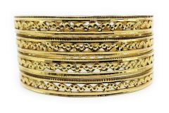 Haute Fashion Round Shape Gold Plated Kada or Bangles for Women (Pack of 8) (Size: 2.10)