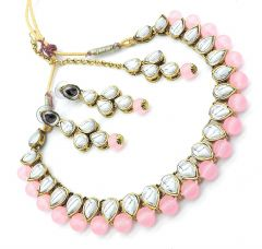 Haute Fashion Pearl Stone Necklace with Earrings and Maang Tikka for Women-ARO-24