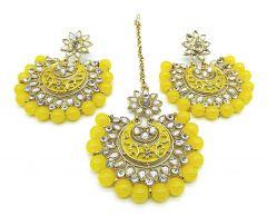 Haute Fashion Traditional Bridal Jewellery Set of Earrings and Maang Tikka for Women-ARO-25