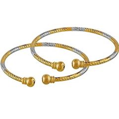 Haute Fashion Dual Tone Gold & Silver Plating Kada or Bangles for Women (Pack of 2)