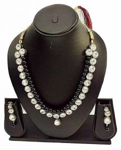 CATALYST Stylish Pearl Stone Necklace Set With Earrings Jewellery Set For Womens (Black)