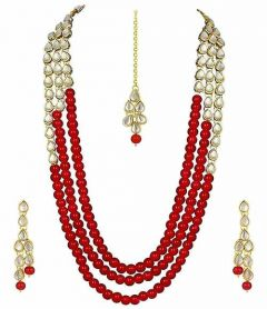 CATALYST Pearl and Kundan Necklace Rani Haar With Earrings For Women (Red)