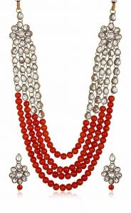 CATALYST Bridal Collection Stylish Designer Faux Pearl Rani Haar Necklace For Women (Red)