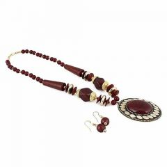 CATALYST Tibetan Style Handmade Beads Necklace With Earrings Set For Women and Girls (Brown)