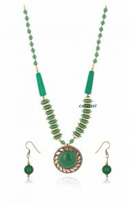 CATALYST Tibetan Stone Beads Gold-Plated Necklace Set with Earrings for Women (Green)