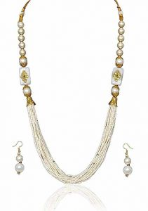 CATALYST Tibetan Stone Beads Gold-Plated Necklace Set with Earrings for Women (White & Golden)
