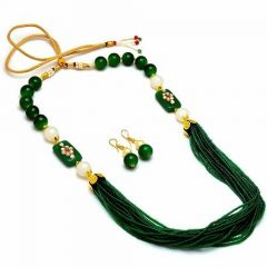 CATALYST Tibetan Style Stone Beads Necklace With Earrings Set For Women and Girls (Green)