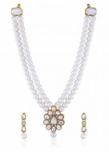 CATALYST Gold Plate Pearl Necklace Jewellery Set With Earrings For Women (White)