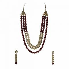 CATALYST Bridal Collection Stylish Designer Faux Kundan Necklace For Women (Maroon) (Pack of 1)