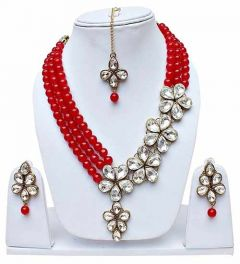 CATALYST Bridal Collection Stylish Designer Faux Pearl Necklace With Earring For Women (Red)