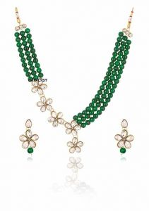 CATALYST Stylish and Designer Faux Pearl Necklace Jewellery Set With Earrings For Women (Green)