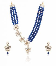 CATALYST Stylish and Designer Faux Pearl Necklace Jewellery Set With Earrings For Women (Blue)