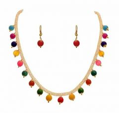CATALYST Fusion Ethnic One Gram Gold Plated Designer Bead Necklace Set For Girls and Women (Multi-Color)