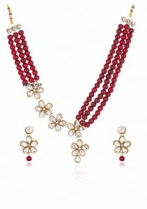 CATALYST Stylish and Designer Faux Pearl Necklace Jewellery Set With Earrings For Women (Maroon)