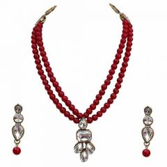 CATALYST Kundan and Sparkling Stones 2 Layered Beads Pearl Necklace & Earring Set for Women (Maroon)