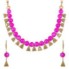 CATALYST Gold Plated Oxidised Polish Metal Necklace Jewellery Set With Earrings For Women (Pink)