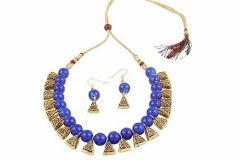 CATALYST Indian Beauties Designer Bead Necklace Set For Girls and Women (Blue)