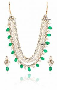 CATALYST Studded Stone and Sparkling 3 Layered Beads Pearl Necklace & Earring Set for Women (Green)