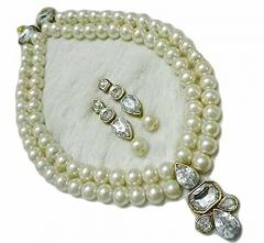 CATALYST Stylish Pearl Necklace Set With Earrings Jewellery Set For Womens and Girls (White)