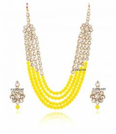 CATALYST Gold Plated and Pearl Kundan Rani Haar For Girls & Women (Yellow)