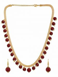 CATALYST Less Fusion Ethnic One Gram Gold Plated Bead Designer Necklace Set For Girls and Women (Maroon)