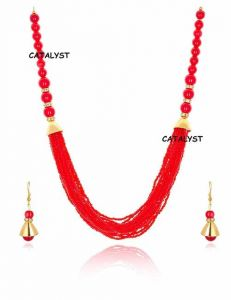 CATALYST Fashionable Kundan Mulistrand Beaded Designer Necklace Set With Earrings For Women and Girls (Red)
